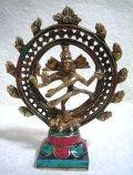 真鍮製・天然石装飾 ナタラージャ(ダンシング・シバ)像 12.8センチ