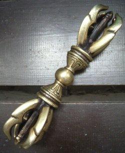 画像1: ドルジェ・五鈷杵 16.5センチ(金)