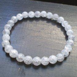 画像1: 6ミリ玉 クラック水晶ブレスレット