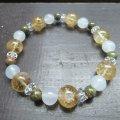 シトリン・黄水晶xホワイトカルセドニーxユナカイトブレスレット