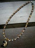 龍彫オニキス(金)xタイガーアイx水晶ネックレス