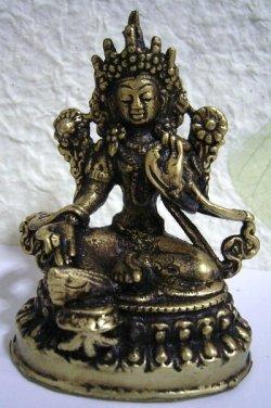 画像1: 真鍮製 ターラー菩薩像 9.2センチ
