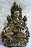 真鍮製 ターラー菩薩像 31.2センチ