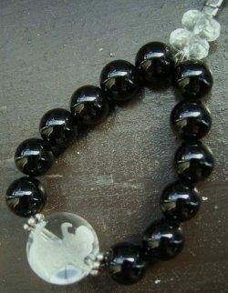 画像1: 白虎彫水晶xオニキスストラップ